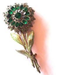 Stunning Deep Green Rhinestone Enameled Flower Statement Brooch circa - Dorothea's Closet Vintage