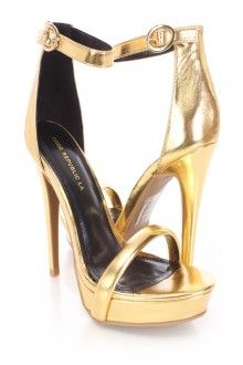 Gold Open Toe Ankle Strap High Heels Faux Leather