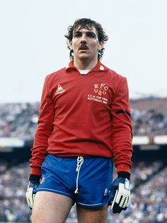 Everton goalkeeper Neville Southall during the UEFA European Cup Winners Cup Final against Rapid Vienna in Rotterdam, May Everton won . Football Ads, British Football, World Football, Football Program, Vintage Football, Football Shirts, Football Players, Big Moustache, Everton Fc