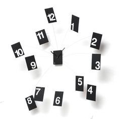 Excellent designer high-end modern black and white wall mounted analog clock with floating hour numbers connected by thin steel wire.