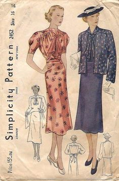 Vintage 1930's Sewing Pattern Maternity Dress Pussy Bow &