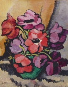 Vase d'anemones by Louis Valtat French artist associated with the Fauves (mutual art) Henri Matisse, Monet To Matisse, Motif Floral, Arte Floral, Art Fauvisme, Maurice De Vlaminck, Georges Braque, French Artists, Flower Art