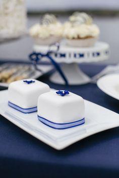 navy and white signature chocolates