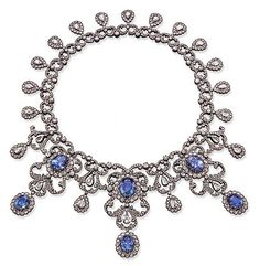 A SAPPHIRE AND DIAMOND NECKLACE  Price realised  CHF 165,950 USD 100,545 Estimate CHF 150,000 - CHF 200,000 (USD 90,881 - USD 121,175)