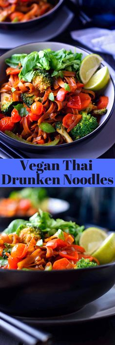 This vegan drunken noodles recipe is a simplified and vegan version of pad kee mao that you can whip up in a matter of minutes for a tasty and satisfying meal. A little bit spicy, a little bit sweet, a little bit savory, a little bit sour and a whole lot of fresh herbs and veggies will satisfy absolutely any craving you're having!