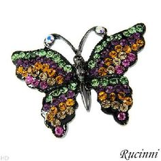 NEW COLORFUL BUTTERFLY BY RUCINNI 9165 Crystal Enamel Brooch FREE SHIPPING