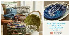 Just in time for Spring cleaning! April Buy One Basket, Get One Off! Fair Trade Jewelry, April 20, Spring Cleaning, Storage Baskets, Get One, Purpose, Organize, Unique Gifts, Artisan