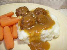 Easy Crock Pot Meatball meal- put together in the morning (or night before) and let the slow cooker do the rest. Awesome over cooked noodles or mashed potatoes.