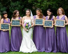 the ΣΣΣ wedding! love the bridesmaid's signs stating when they met the bride! {even if the ΣΣΣs are backwards?} ❤