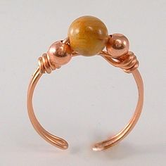 Adjustable Yellow Crazy Lace Agate Copper Wire Ring