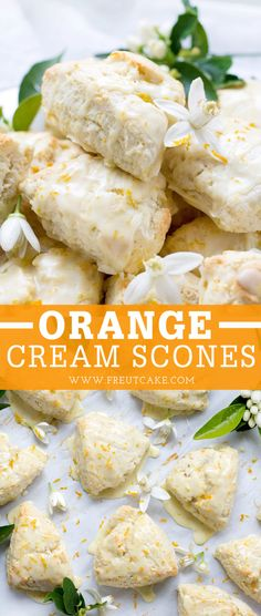 Orange Cream Scones This recipe for Orange Blossom Cream Scones is the perfect spring recipe to serve with breakfast or brunch. A sweet orange glaze finishes off these delicious scones. Spring Recipes, Easter Recipes, Brunch Recipes, Breakfast Recipes, Recipes Dinner, Breakfast Scones, Breakfast Ideas, Orange Scones, Recipes
