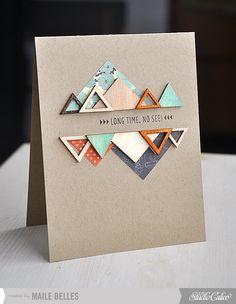 (Maile Belles) Patterned paper & wood veneer triangles.