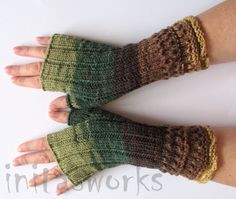 Fingerless Gloves Mittens wrist warmers Green Brown by Initasworks, $45.00