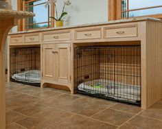 For people who kennel their dog(s) it is nice to be able to incorporate kennels into rooms. This is a super idea for a laundry room. Love this idea.