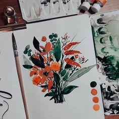 "Tanja von Die Handletterei on Instagram: ""#watercolorflorals #autumnmood 🍂 . . . #watercolorbouquet #watercolor_blog #watercolorillustration #watercolor_guide #watercolor_daily…"""
