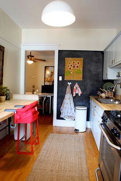sneak peek: winifred gundeck | Design*Sponge Chalkboard wall in kitchen