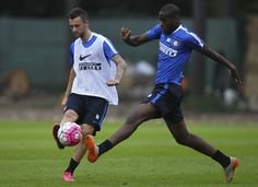 Marcelo Brozovic and Geoffrey Kondogbia training ahead of the Milan derby.