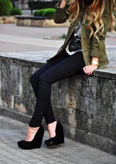army green jacket, white tee, scarf, dark skinny, heels.