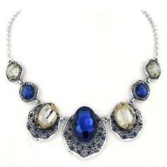 Vera Champagne Gold Gemstone Decorated Oval Shape Design Alloy Korean Necklaces fashion  www.asujewelry.com