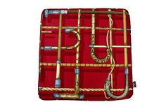 超希少ピエロフォルナセッティI BASTONIレッドデザインのヴィンテージ生地低反発クッション #クッション #クッションカバー #ピエロフォルナセッティ #fornasetti #vintage #ヴィンテージ #cushion #cushioncover #pillow