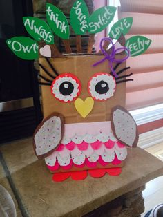 Easy girls valentines box    Cute owl made tissue paper and cardstock