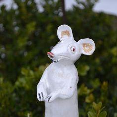 Gartendekoration - Zaunsitzer-Maus 2 - ein Designerstück von Moneria bei DaWanda