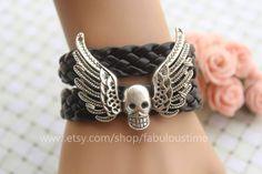 Skull with angel wings bracelet,retro silver skull bracelet,black braid leather bracelet---B350