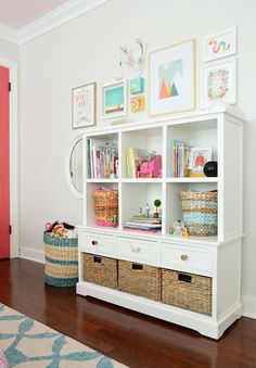 Storage system for a kids room with cubbies and drawers