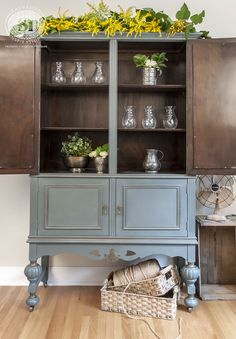 Painted Cabinet with Bluestone House Chalky Patina and Polyvines Metallic Bronze with Warm Wood Interior. Perfect vintage cabinet with a modern farmhouse feel! <3