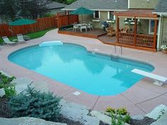 Swimming Pool Ideas Beautiful - Increasing Your Swimming Pool Area. Make waves with waterfalls, fountains and slides in these top best swimming pool designs. Explore the coolest backyard home pool ideas ever. Backyard Pool Landscaping, Backyard Pool Designs, Swimming Pools Backyard, Small Backyard Landscaping, Swimming Pool Designs, Backyard Ideas, Landscaping Ideas, Patio Ideas, Acreage Landscaping