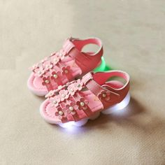 Baby Girl Sandals Shoes Flowers LED Lighted Summer Beach For Girls Kids Child Student Outdoor Night Flash Family Room Design AliExpress