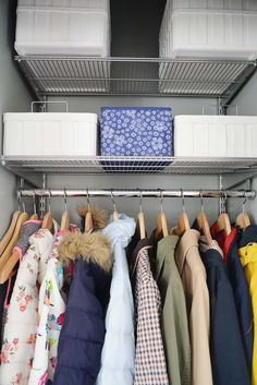 front hall closet organization, small closet organization, entryway closet, closet storage #homeorganization #closetorganizing #organizing
