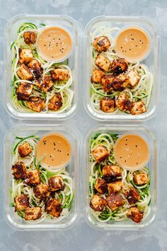 Crispy Sesame Tofu Zucchini Noodles in four meal prep containers