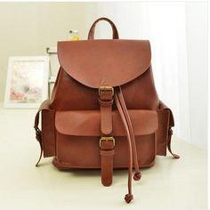 2013 New Korean backpack genuine leather women  bags preppy style student bag black and  brown bag vintage ca13n393 BIG SALES