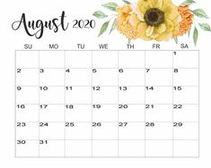 August 2020 Floral Calendar Printable Calendar 2020, Cute Calendar, Monthly Calendar Template, Weekly Planner Printable, Holiday Calendar, Yearly Calendar, 2019 Calendar, Monthly Calendars, Calendar Wallpaper