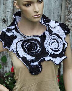 Crochet  Scarf Capelet Cape Black White  Neck Warmer Freeform crochet  Women  Freeform Crochet Roses