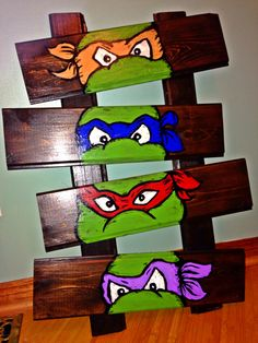 Stained the boards, acrylic paint for the turtles, finished up with Mod Podge. Ninja Turtle Room, Ninja Turtle Drawing, Turtle Birthday Parties, Ninja Turtle Birthday, Cute Canvas Paintings, Small Canvas Art, Painting For Kids, Diy Painting, Baby Room Themes