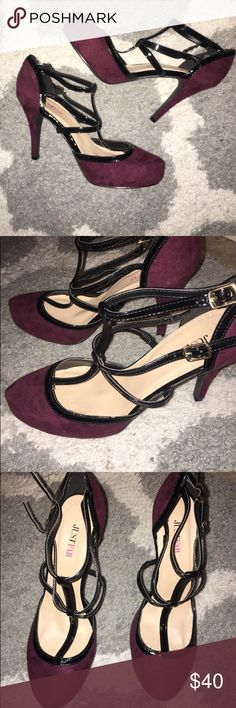 NWOB burgundy strapped suede heels Never worn only tried on dark burgundy heels with black patent leather straps across the front of your foot. Super stylish for a night out!  Size 9 JustFab Shoes Heels