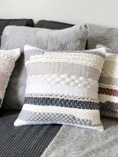 Woven pillowcase / Striped pillow by Blanc Laine Scandinavian Cushion Covers, Scandinavian Pillows, Tapestry Weaving, Loom Weaving, Hand Weaving, Handmade Pillows, Decorative Throw Pillows, Bedroom Cushions, Sun Hats For Women