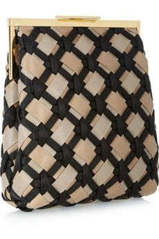 Woven leather and satin clutch by Marni