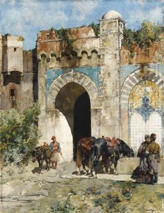 ALBERTO PASINI PAINTINGS ON ARC | Alberto Pasini (Italian, 1826-1899) | Watering…