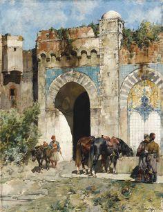 ALBERTO PASINI PAINTINGS ON ARC   Alberto Pasini (Italian, 1826-1899)   Watering…