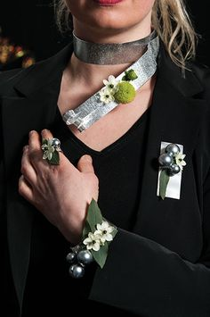 Prom Jewelry Set - Floral Fashionista's Jewelry - Ornithogalum arabicum, eucalyptus leaves, button mum chrysanthemum, green hypericum and decorative grey pearls against flat decorative wire