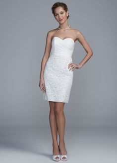 Short Lace Dress with Sweetheart Neckline - David's Bridal