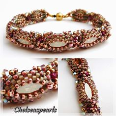 """Chatoyance"" bracelet with navette rhinestones by Chelseaspearls:"