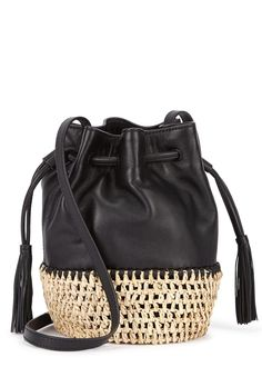 Loeffler Randall black leather bucket bag Adjustable shoulder strap, woven raffia base, printed lining Tasselled drawstring top Comes with a dust bag
