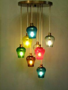 Vintage Mid Century Modern Multi-colored Glass Pendant Light