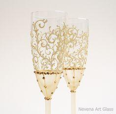 Gold Wedding Glasses Champagne Glasses Toasting от NevenaArtGlass