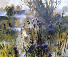 TECHNIQUES, MEDIA AND APPROACH TO PAINTING. I paint on paper, board and canvas. I use a flat brush for all media and a variety of other tools and brushes including palette knife, roller, card, hand and finger, rag and sponge. For mixed-media paintings I combine watercolour, acrylic, pastel and acrylic ink, or any combination of a couple of these materials. My acrylic paintings are mostly on canvas or board, textured to create a random, unpredictable surface. I enjoy painting landscape…