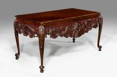 A Magnificent Pair of 19th Century Irish Mahogany Serving Tables with finely carved aprons incorporating shells, elaborate foliage and cross-hatching to the aprons and the supports on cabriole legs terminating in a scroll foot. An identical single table circa 1770 is to be found in the Metropolitan Museum New York. - c. 1890 - Height 33.00inch (83.82cm), Width 62.00inch (157.48cm), Depth 32.00inch (81.28cm)
